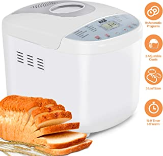 KBS Full Automatic Bread Maker 2LB, Multi-Use 19 Programs Bread Machine, 360° Double Tube Bake with Ceramic Pan, 3 Loaf Sizes 3 Crust Colors Digital Screen, 15hrs Delay Time 1h Keep Warm, ETL Approved