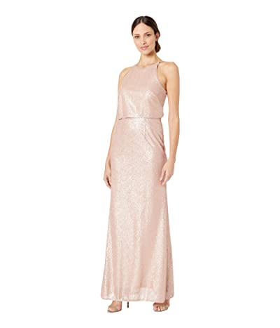 Adrianna Papell Sequin Halter Popover Modified Mermaid Evening Gown (Blush) Women