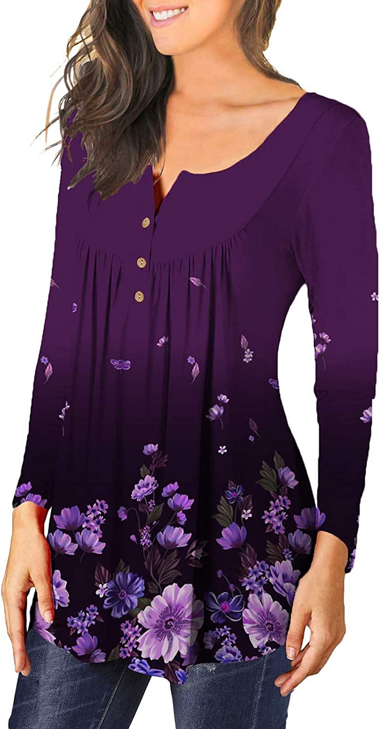 855 Women's Fashion Casual Long Sleeve Safety and trust Elegant Round Shirt Printed Neck