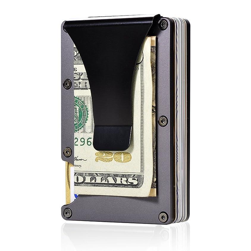 生態学ヒール太字HONB 薄い 財布 マネークリップ アルミニウム カード&小銭入れ 軽い カードケース 磁気防止 メンズ財布 (黑)