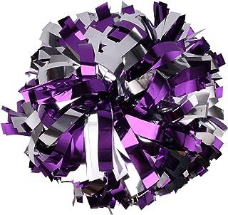 ICObuty Metallic Cheerleader Cheerleading Pom Poms 6 inch 1 Pair 2 Pieces