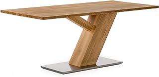 Marque Amazon -Alkove - Hayes - Table en bois massif avec pieds en acier inoxydable, 160cm, Chêne