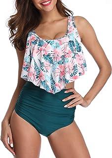 f96dbe48cdca3 Bikini Swimsuit for Women High Waisted Swimsuits Tummy Control Two Piece  Tankini Ruffled Top with Swim