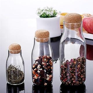 Cuisine thé Conteneurs en verre sucre Bocal avec couvercle de liège, épices sucre Récipient à café Cuisine Conteneurs for ...