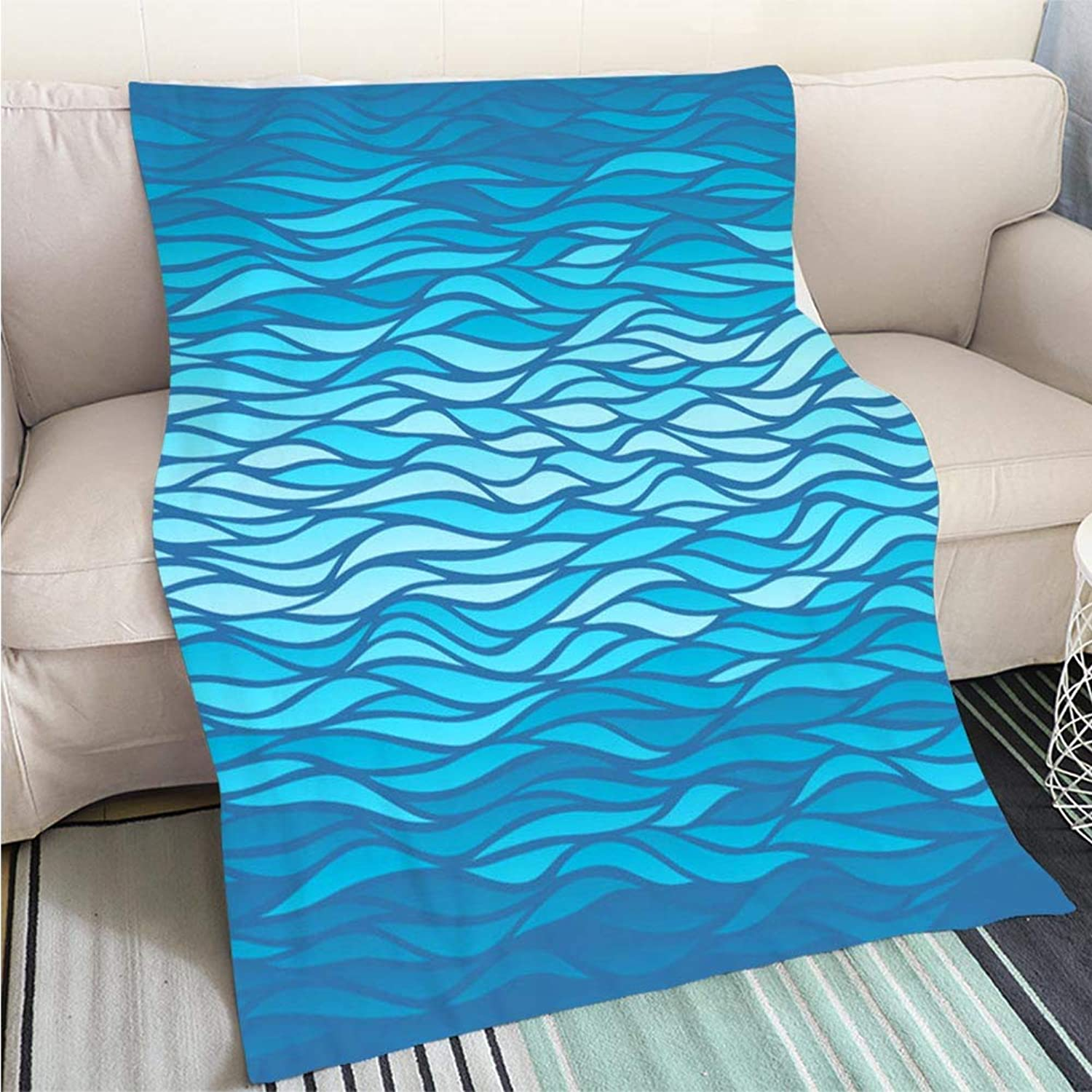 BEICICI Comforter Multicolor Bed or Couch bluee Waves Background Sofa Bed or Bed 3D Printing Cool Quilt