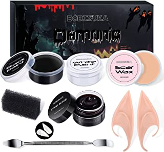 BOBISUKA Special Effects SFX Halloween Makeup Kit Black White Face Body Paint + Scar Wax with Spatula Tool + Fake Blood + ...