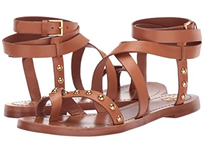 Tory Burch Ravello Studded Ankle-Wrap Sandal (Tan) Women