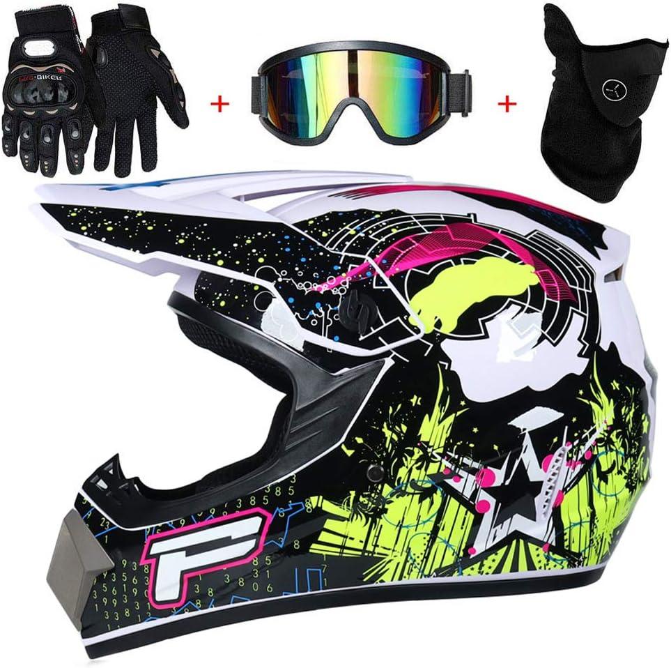 AMITD Masque Moto Cross,Casques De Moto-Cross /& Masque Coupe-Vent /& Gants /& Goggles D.O.T Casque De VTT Quad Standard pour Enfants