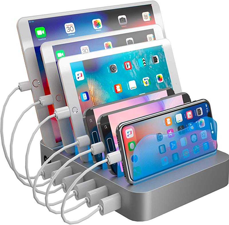 Hercules Tuff Charging Station Organizer For Multiple Devices 6 Short Mixed Cables Included For Cell Phones Smart Phones Tablets And Other Electronics
