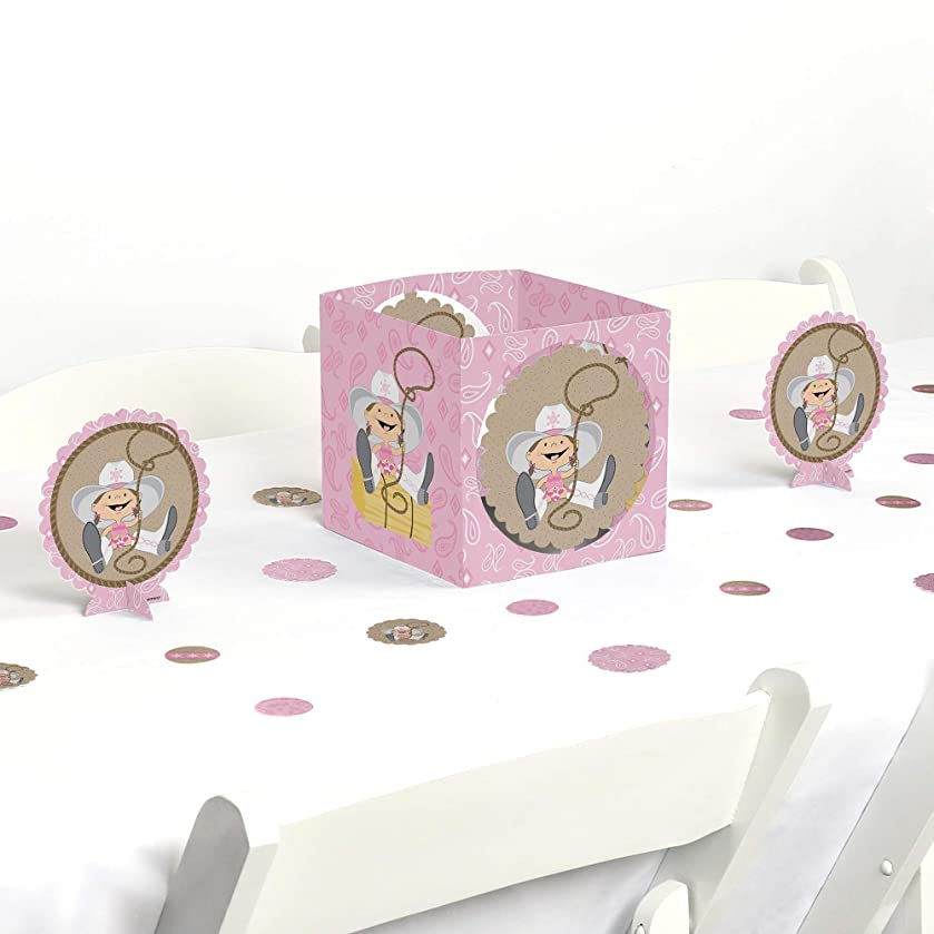 Big Dot of Happiness Little Cowgirl - Western Baby Shower or Birthday Party Centerpiece & Table Decoration Kit