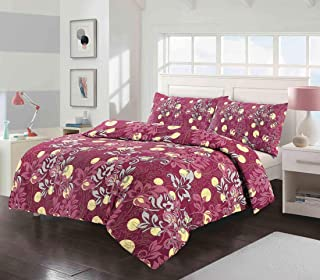 MA Online Soft Duvet Cover Poly Cotton Floral Duvet Quilt Cover with Pillow Cases Bedding (Duvet Set Red Amelia King)