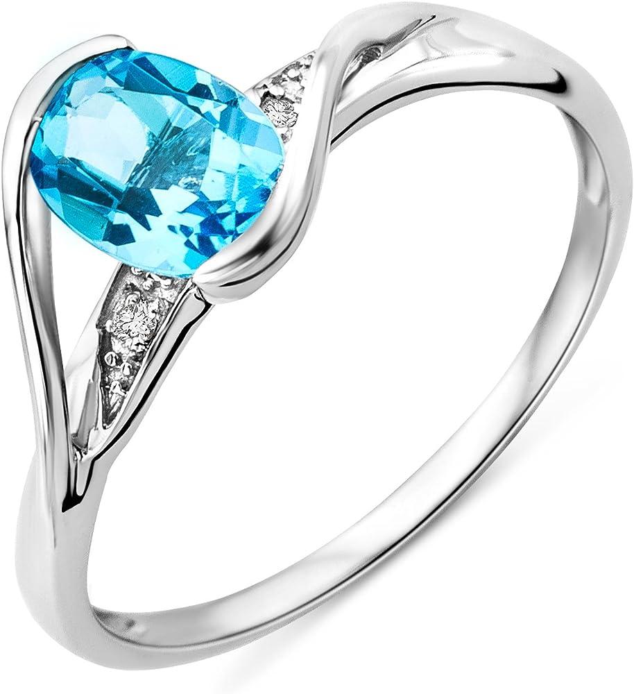 miore anello da donna in oro bianco 9k (1.47 grammi), taglio brillante mt021btrp