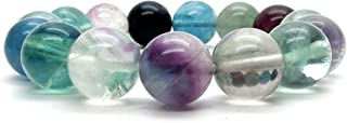 Fluorite Rainbow Bracelet 11mm Boutique Crystal Healing Purple Green Clear Gemstone Round Handmade Stretch B01