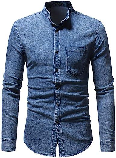 Camisa para Hombre Slim para Manga Larga Fit Hombre Modernas ...