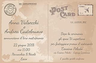 Partecipazioni matrimonio - inviti nozze cartolina vintage con francobollo 10 pezzi
