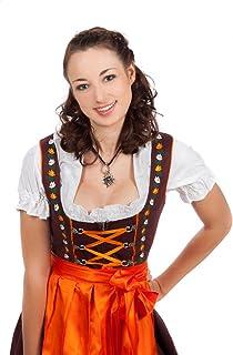 f5c232ca961d29 Mini Dirndl 3-tlg. braun orange mit passender Bluse und Schürze Gr. 32-48