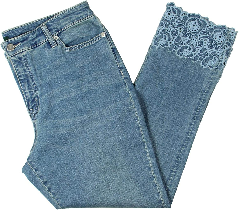 Lauren Ralph Lauren Womens Straight Leg Slimming Fit Cropped Jeans bluee 18