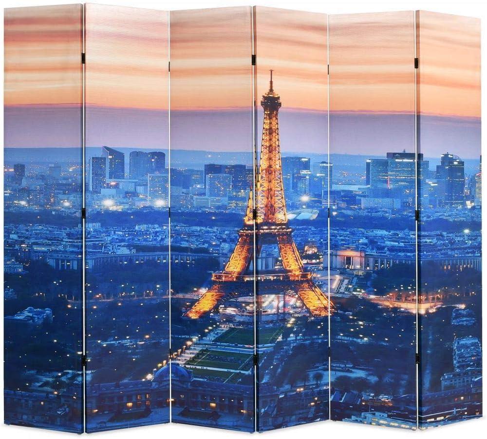 Cloison de S/éparation Paravent de Toile 160x170 cm Paris la Nuit Tidyard Paravent Interieur Pliable