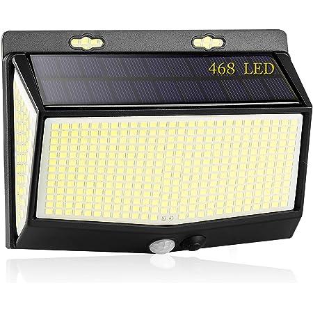 Luz Solar Exterior, [2021 Más Brillante Modelo 468 LED Luces Solares 1-Paquete] Gran Ángulo 270 °Iluminación Foco Solar con Sensor de Movimiento IP65 Impermeable 3 Modos Lámpara Solar para Jardín Camino