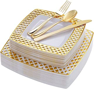WDF 125PCS Gold Plastic Plates with Disposable Plastic Silverware,Diamond Square Plastic Tableware include 25 Dinner Plates,25 Salad Plates,25 Forks, 25 Knives, 25 Spoons