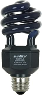 Sunlite 05439-SU CFL Black Bulb (BLB), Halloween Lighting, Spiral Blacklight, 20 Watts, 120 Volts, Medium Base (E26), 463nm, UL Listed, 1 Pack