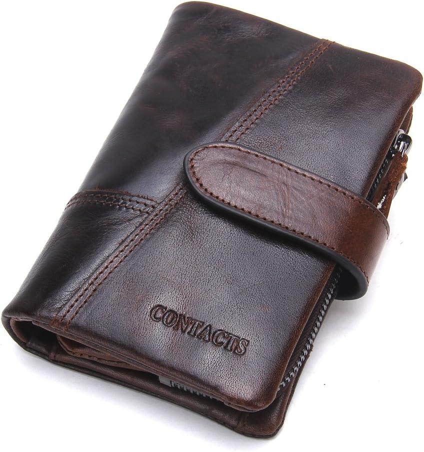 Contacts Cartera plegable de piel auténtica para hombre, con bolsillo para monedas., Marrón 1 (Marrón) - 10440746