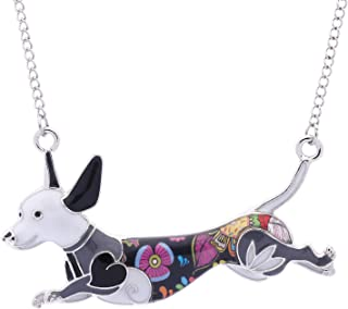 Luckeyui Unique Dachshund Necklace Pendant for Women Girls Cute Dog Charm Jewelry Dog Lover Birthday Gift