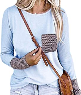 Macondoo Women's Blouse Pockets Round Neck Long-Sleeve Casual Tops T-Shirt