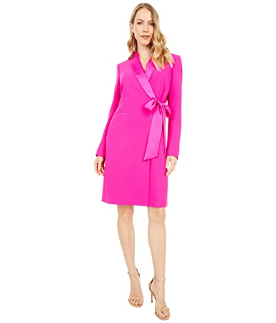 Tahari by ASL Long Sleeve Side Tie Stretch Crepe Coat Dress (Shocking Pink) Women