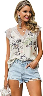 Glamaker Women's Casual Loose V Neck Floral Cotton Lace Trim Tank Top Sleeveless Blouse