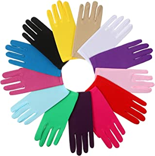 13 Pairs Women Short Satin Gloves Wrist Length Gloves Gown Gloves Opera Gloves for Party