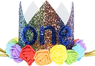 Maticr Baby Girl Glitter 1 2 3 First Birthday Rainbow Flower Crown Hat Floral Tiara Headband for Photo Prop (Blue Letter One)
