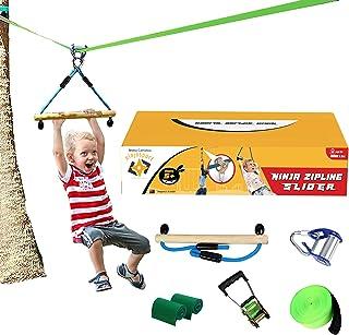 Ninjastar Sport & Outdoor Zipline Pulley & Slider for Kids - 50 ft Ninja Slackline or zip line. Ninja Warrior Equipment co...