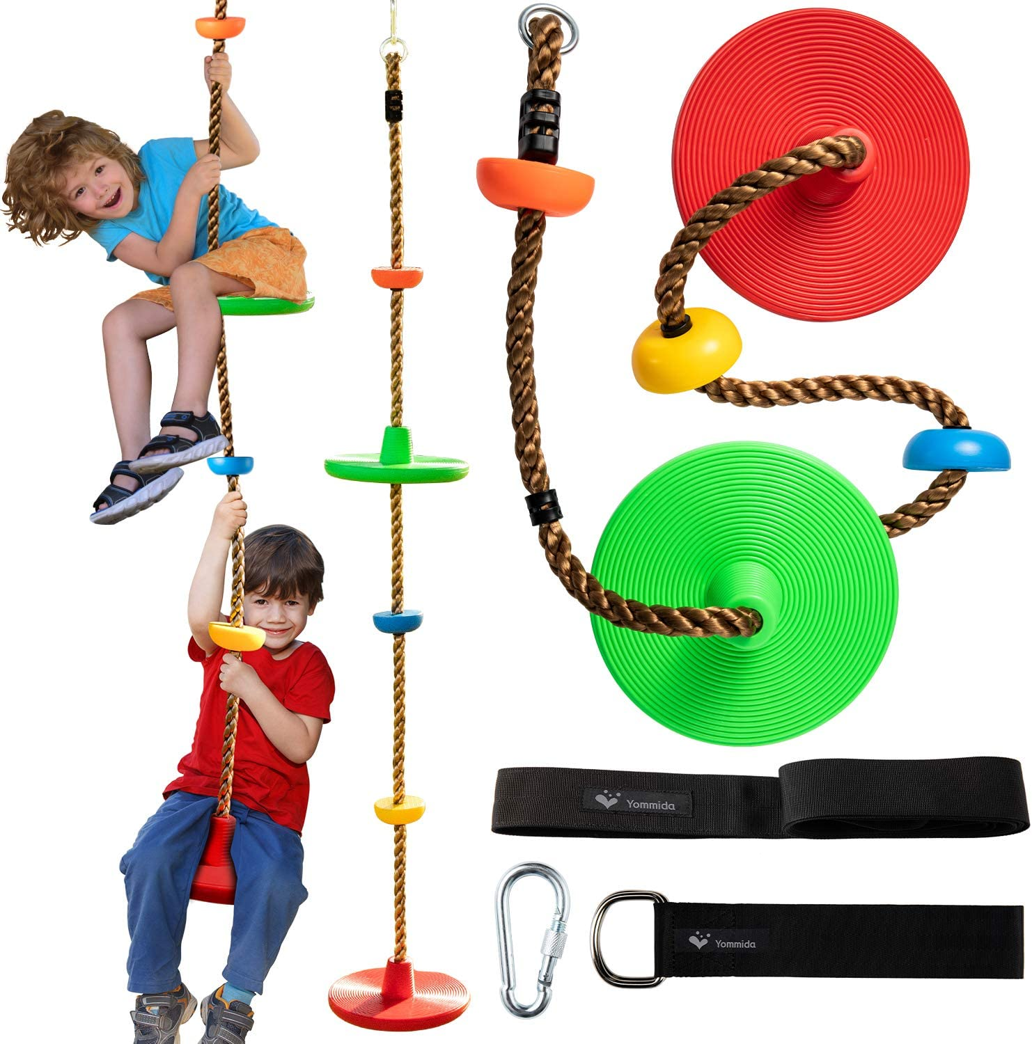 Tree Climbing Rope swing with 2 Disc Swings Seats and Platforms,