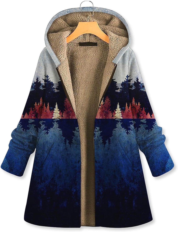 Damen Winter warme Outwear Blumendruck mit Kapuze Taschen Vintage Oversize Mäntel, Warmer Mantel Frauen Herbst Winter Sweatshirt Blumendruck Kapuzenjacke Blau-b-1