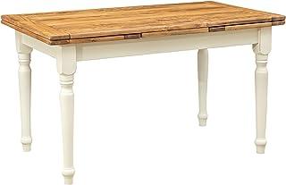 Table à rallonge champêtre en bois massif de tilleul massif, cadre gris antique, plan finition naturelle L140xPR80xH80 cm