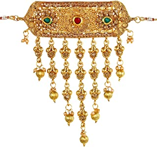 Gold Plated Traditional Crystal Tassel Choker Indian Necklace Earrings Jewelry Set for Girls and Women