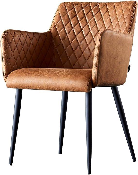 Sedia con bracciolo   sala da pranzo comfort rivestimento in tessuto (cognac) B07DHS74G7