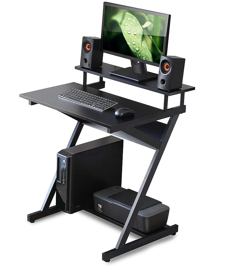 道路地雷原起点FITUEYES パソコンデスク ラック付き 幅70cm 組立簡単 木製 ブラック CD307001WB