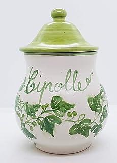 Barattolo Porta Cipolle Linea Edere Ceramica Realizzato e dipinto a mano Le Ceramiche del Castello Made in Italy Dimension...