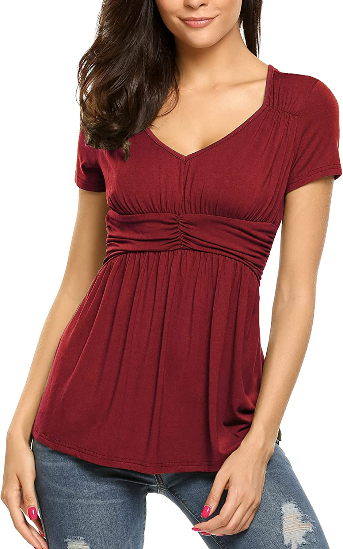 SoTeer Womens V Neck Empire Waist Shirt Short Sleeve Casual T Shirts Blouses Tops S-XXL