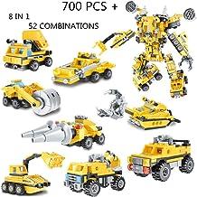 IROCH Engineering Vehicle Building Blocks FiguresSTEM Robot Bricks Toy Compatible Transform...