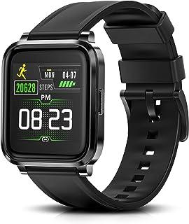 Reloj inteligente RTAKO para hombres y mujeres, con monitor de frecuencia cardíaca, medidor de oxígeno en sangre, IP68, resistente al agua, compatible con teléfonos iPhone y Android, reloj de bricolaje, caras, color negro