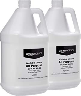 AmazonBasics All Purpose Washable School Liquid Glue, Great for Making Slime, 1 Gallon Bottle, 2-Pack