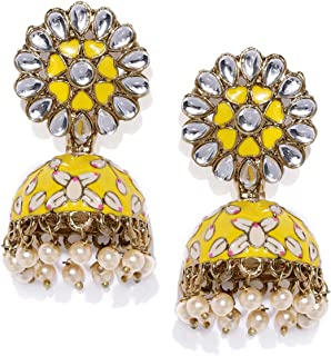 ZAVERI PEARLS Women's 22K Beautifully Enamelled Gold Plated Metal Jhumki Earring (Yellow, ZPFK8805)