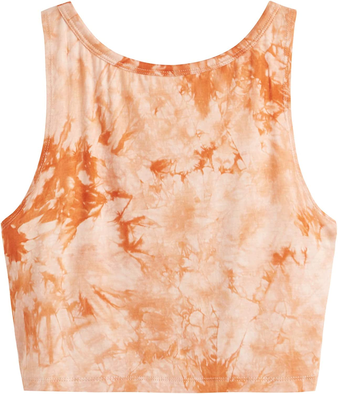 SweatyRocks Women's Tie Dye Sleeveless Workout Casual Cropped Tank Top Shirts