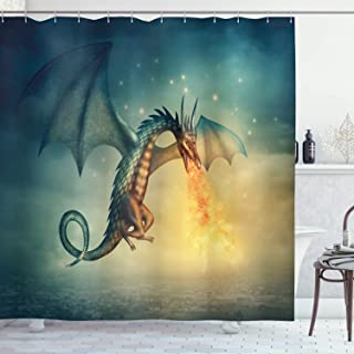 Ambesonne Fantasy Shower Curtain by, Legendary Dragon in the Sky with Magical Flame Fairytale Creature Surreal Design, Fabric Bathroom Decor Set with Hooks, 84 Inches Extra Long, Teal Yellow