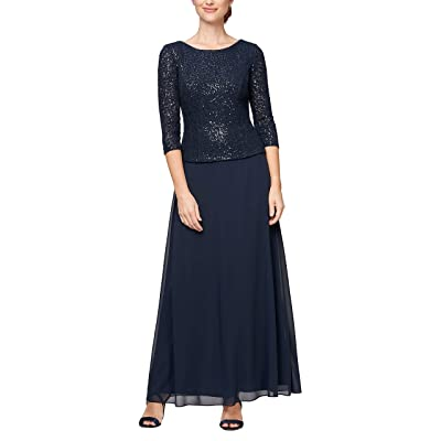 Alex Evenings Long Mock Dress With Full Skirt (Petite and Regular Sizes)