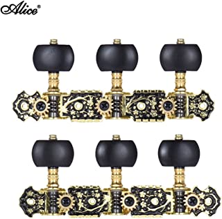 Andoer Alice AOS-020HV3P 2pcs(L&R) Acoustic Classical Guitar Tuning Keys Pegs String Tuners 3+3 Machine Heads (Short) Gold and Black Plated