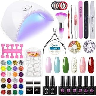 Coscelia Gel Nail Polish Starter Kit with 36W LED Lamp Base and Top Coat Acrylic Powder Glitter Manicure Tools